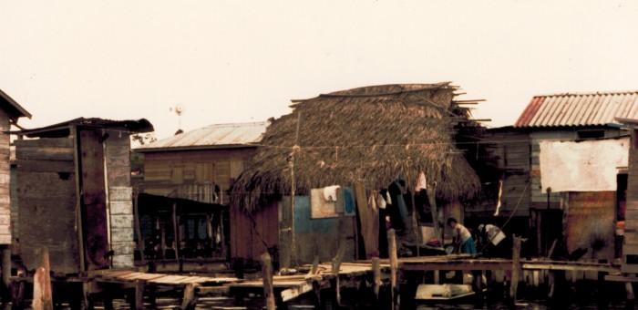 Bario Los Fuertes from water Roatan , Honduras, CA