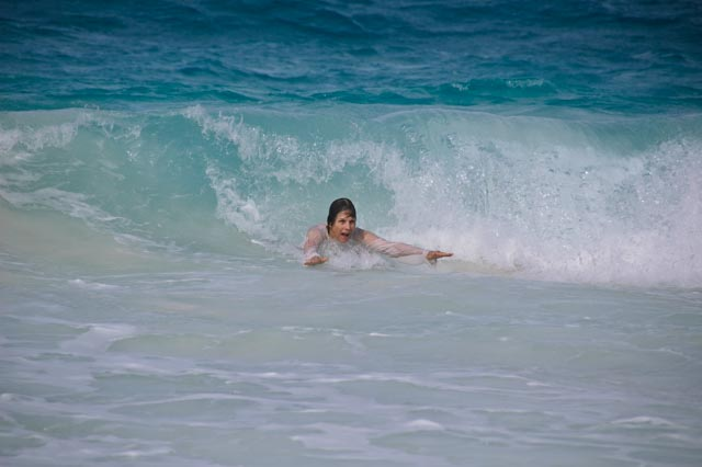Jane body surfing in Bahamas, JHT