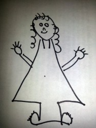 kid drawing of a girl with digits