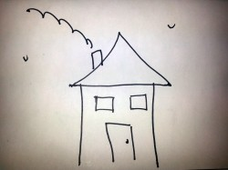 kid drawing of a house