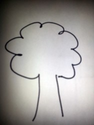 kid drawing of a tree with rounded crown