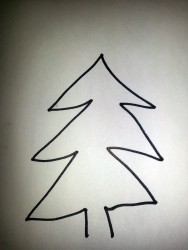 kid's drawing of pine tree
