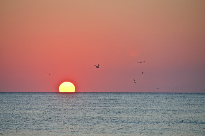 Sunset at Siesta Key, FL on Gulf of Mexico