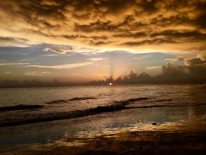 sunset w orange clouds